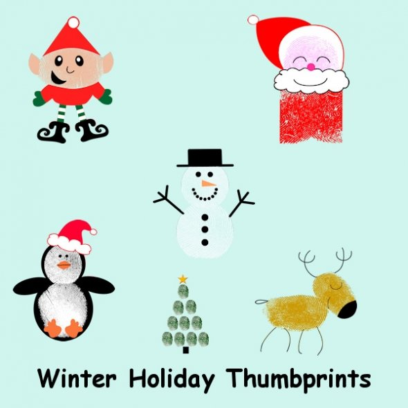Christmas Thumbprint Characters for Greeting Cards and Scrapbooking